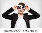 image of cheerful young girl... | Shutterstock . vector #575278141