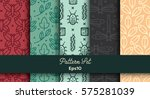 vector set of various seamless... | Shutterstock .eps vector #575281039