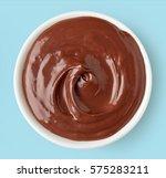 chocolate cream in round dish... | Shutterstock . vector #575283211