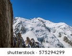 Snowy Mont Blanc And Rocks In ...