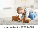 Stock photo cute little boy feeding rabbits with carrot at home 575294509