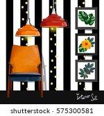 set of vector interiors with... | Shutterstock .eps vector #575300581