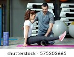 rehabilitation concept. young... | Shutterstock . vector #575303665