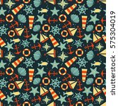 seamless pattern  sea symbols.... | Shutterstock .eps vector #575304019