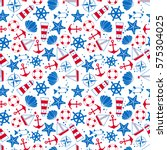 seamless pattern  sea symbols.... | Shutterstock .eps vector #575304025