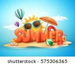 Summer vector banner design concept of 3d text in beach island with summer elements and balloons in blue sky background. Vector illustration. | Shutterstock vector #575306365