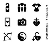 love icon. set of 9 love filled ... | Shutterstock .eps vector #575306875