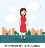 the girl talks a lot. woman in... | Shutterstock .eps vector #575308801