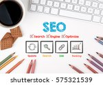 seo business concept. white... | Shutterstock . vector #575321539