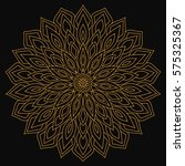 golden mandala with hearts on a ... | Shutterstock . vector #575325367