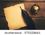 vintage feather pen and blank... | Shutterstock . vector #575328661