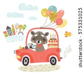 greeting card. raccoon in a car ... | Shutterstock .eps vector #575331025