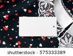 tags on black cotton blouse... | Shutterstock . vector #575333389