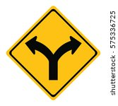 traffic sign.turn right or turn ... | Shutterstock .eps vector #575336725