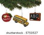 three school ornaments hanging... | Shutterstock . vector #5753527
