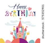 happy birthday typographic... | Shutterstock .eps vector #575352901