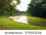 pond in public park   Shutterstock . vector #575353234