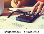 man doing finance and calculate ... | Shutterstock . vector #575353915
