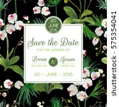 save the date card. tropical... | Shutterstock .eps vector #575354041