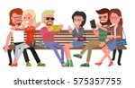 young people  boys and girls... | Shutterstock .eps vector #575357755