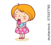 the little girl with pleasure... | Shutterstock .eps vector #575357785