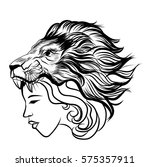 girl with tattoos and a lion's... | Shutterstock .eps vector #575357911