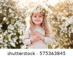 smiling kid girl 4 5 year old... | Shutterstock . vector #575363845