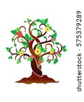 tree with flowers. vector for... | Shutterstock .eps vector #575379289