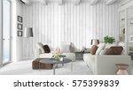 modern bright interior . 3d... | Shutterstock . vector #575399839