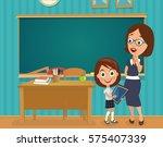 teacher and girl. vector flat... | Shutterstock .eps vector #575407339