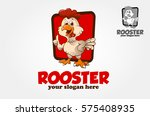 funny cartoon rooster chicken... | Shutterstock .eps vector #575408935
