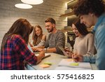 shot of a group of students... | Shutterstock . vector #575416825