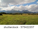 view of the high tatras in... | Shutterstock . vector #575422357
