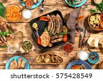 dinner table with variety food... | Shutterstock . vector #575428549