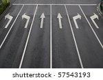 Arrow signs as road markings on ...