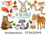 set of cute woodland animals... | Shutterstock .eps vector #575432995