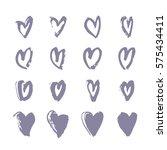 set of hand drawn paint heart.... | Shutterstock .eps vector #575434411