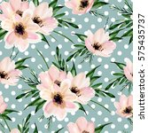 seamless floral  pattern on a... | Shutterstock . vector #575435737