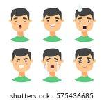 set of male emoji characters.... | Shutterstock .eps vector #575436685