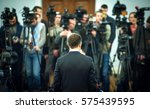 press conference. public... | Shutterstock . vector #575439595