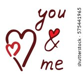 you and me lettering with red...