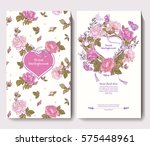 set of two cards for wedding... | Shutterstock .eps vector #575448961