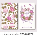 set of two cards for wedding... | Shutterstock .eps vector #575448979