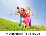 mom and two daughter having fun | Shutterstock . vector #57545206