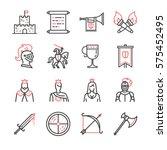 medieval line icons set   Shutterstock .eps vector #575452495