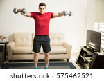 athletic hispanic young man... | Shutterstock . vector #575462521