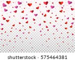 romantic flying red pink heart... | Shutterstock .eps vector #575464381