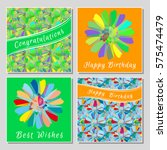 set of floral greeting cards... | Shutterstock .eps vector #575474479
