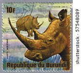 Small photo of REPUBLIC OF BURUNDI - CIRCA 1975: A stamp printed in Republic of Burundi shows white rhinoceros, series, circa 1975