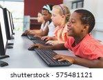 school kids using computer in...   Shutterstock . vector #575481121